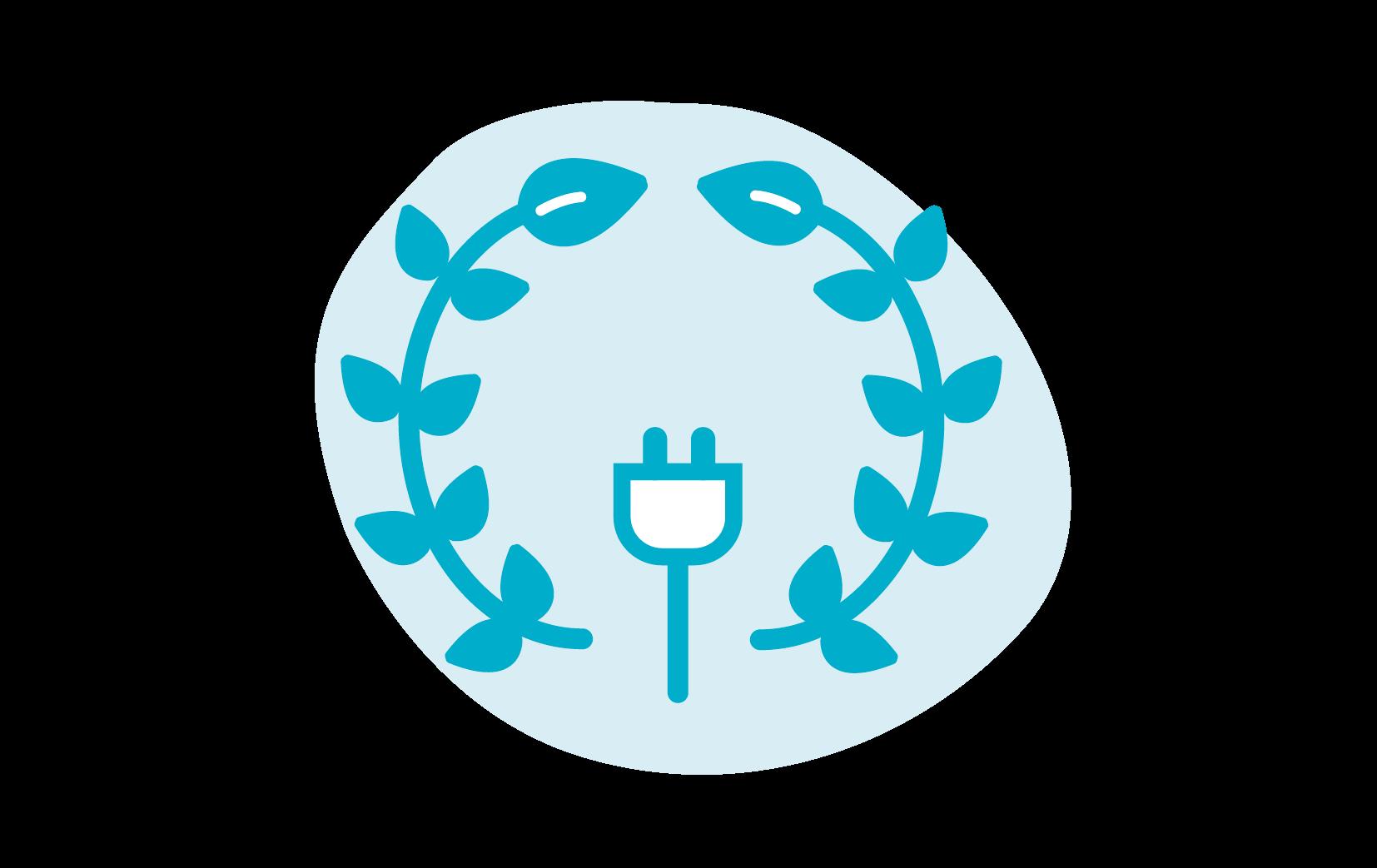 Icoon van een plug met een lauwerkrans