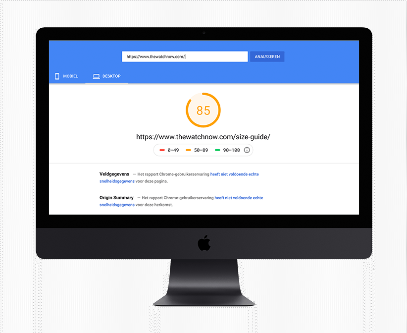 Mockup van een iMac welke een pagespeedtest uitvoert