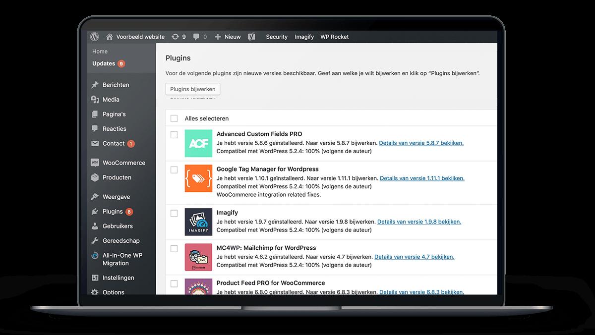 Mockup van een MacBook met de backend van Wordpress open