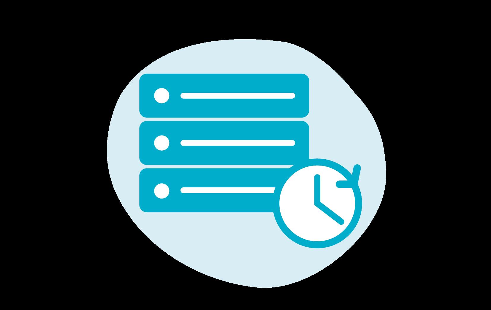 Icoon van een server met een klokje