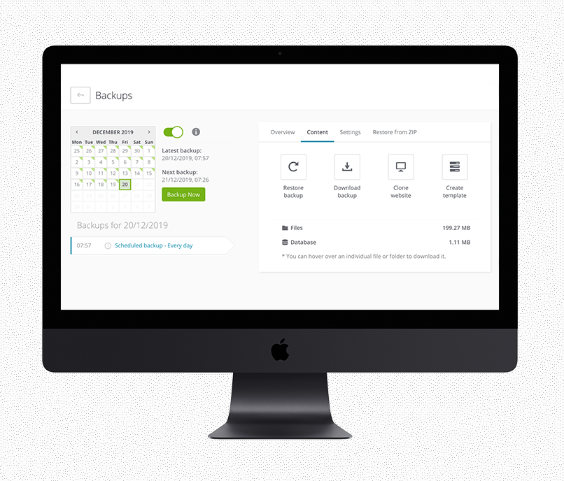 Mockup van een iMac met Wordpress beheersoftware open