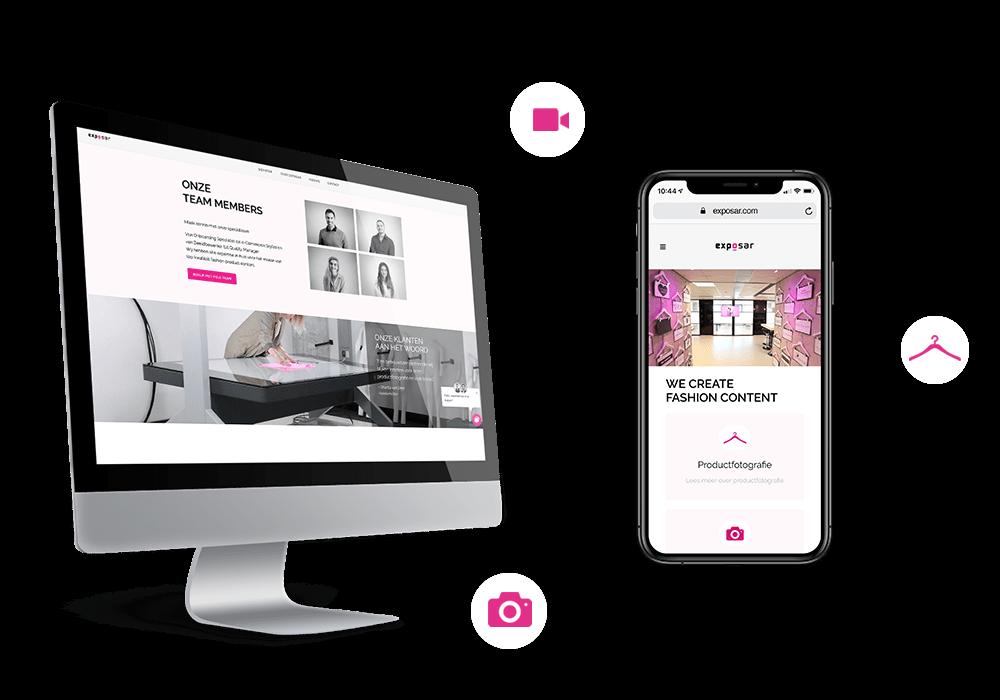 iPhone en iMac met de Exposar website open