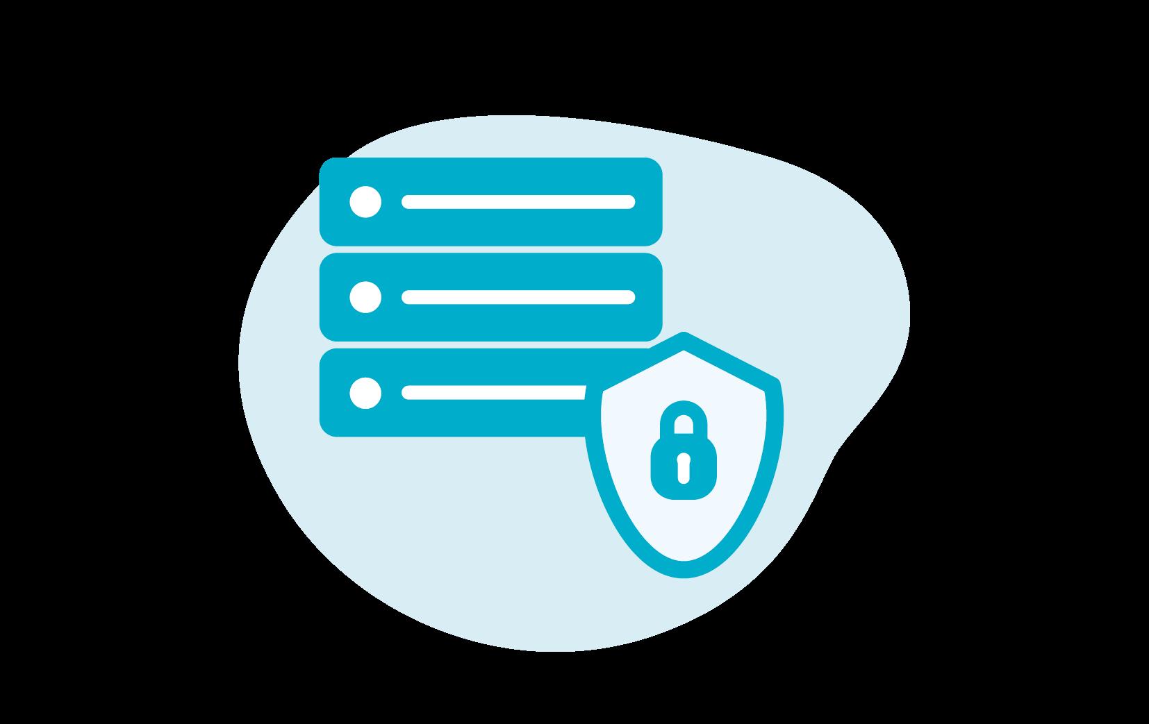 Icoon van een beveiligde server