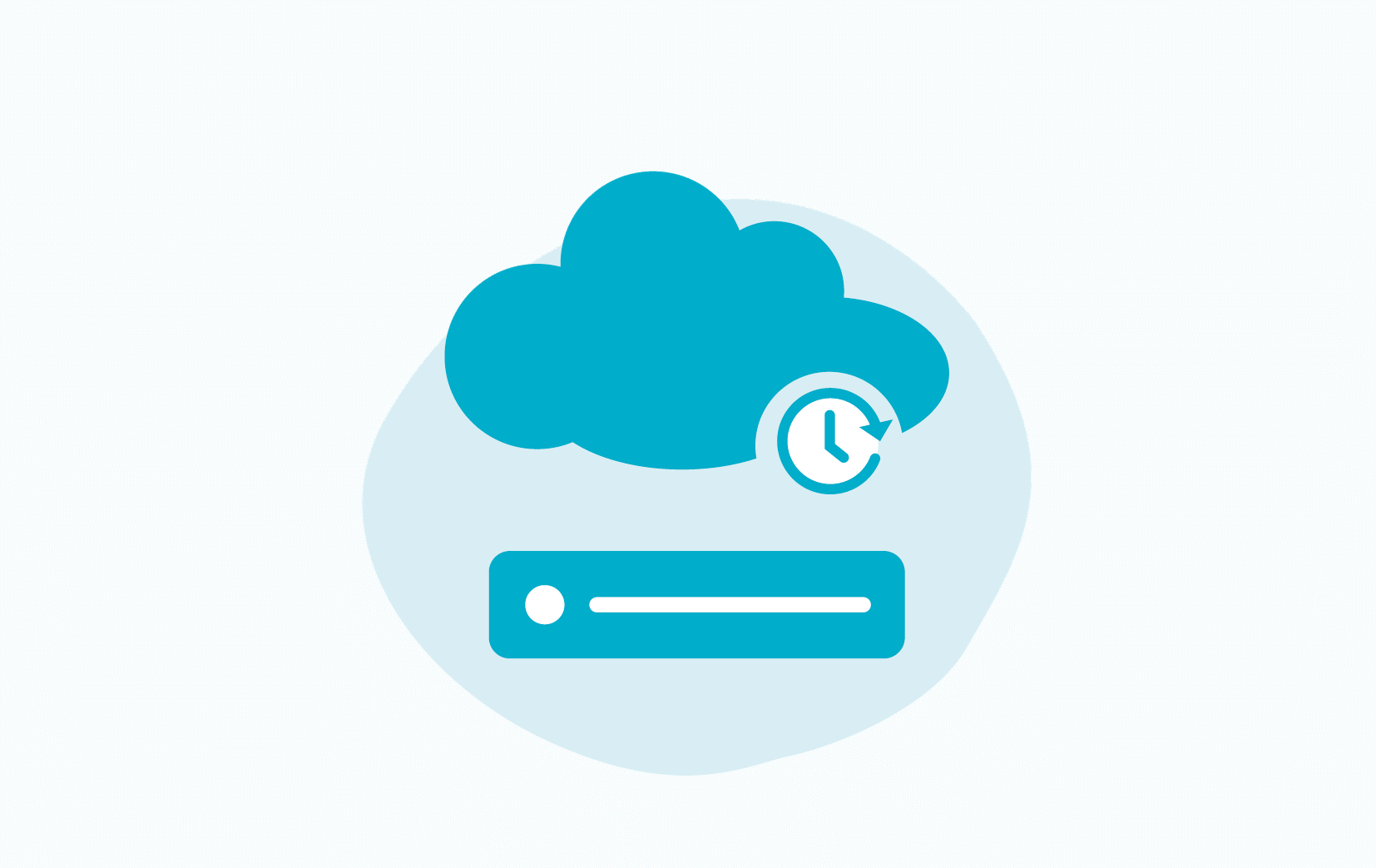 Icoon van een server die gebackupped wordt naar de cloud