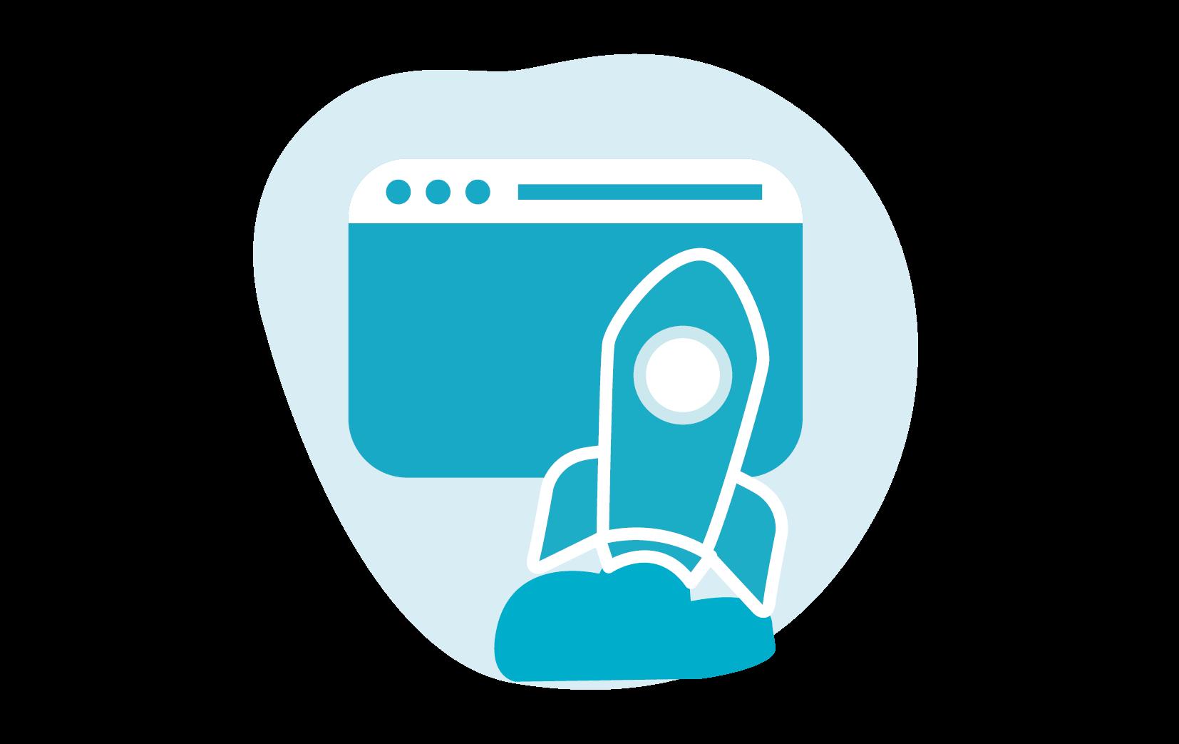 Icoon van een raket die naar een website vliegt