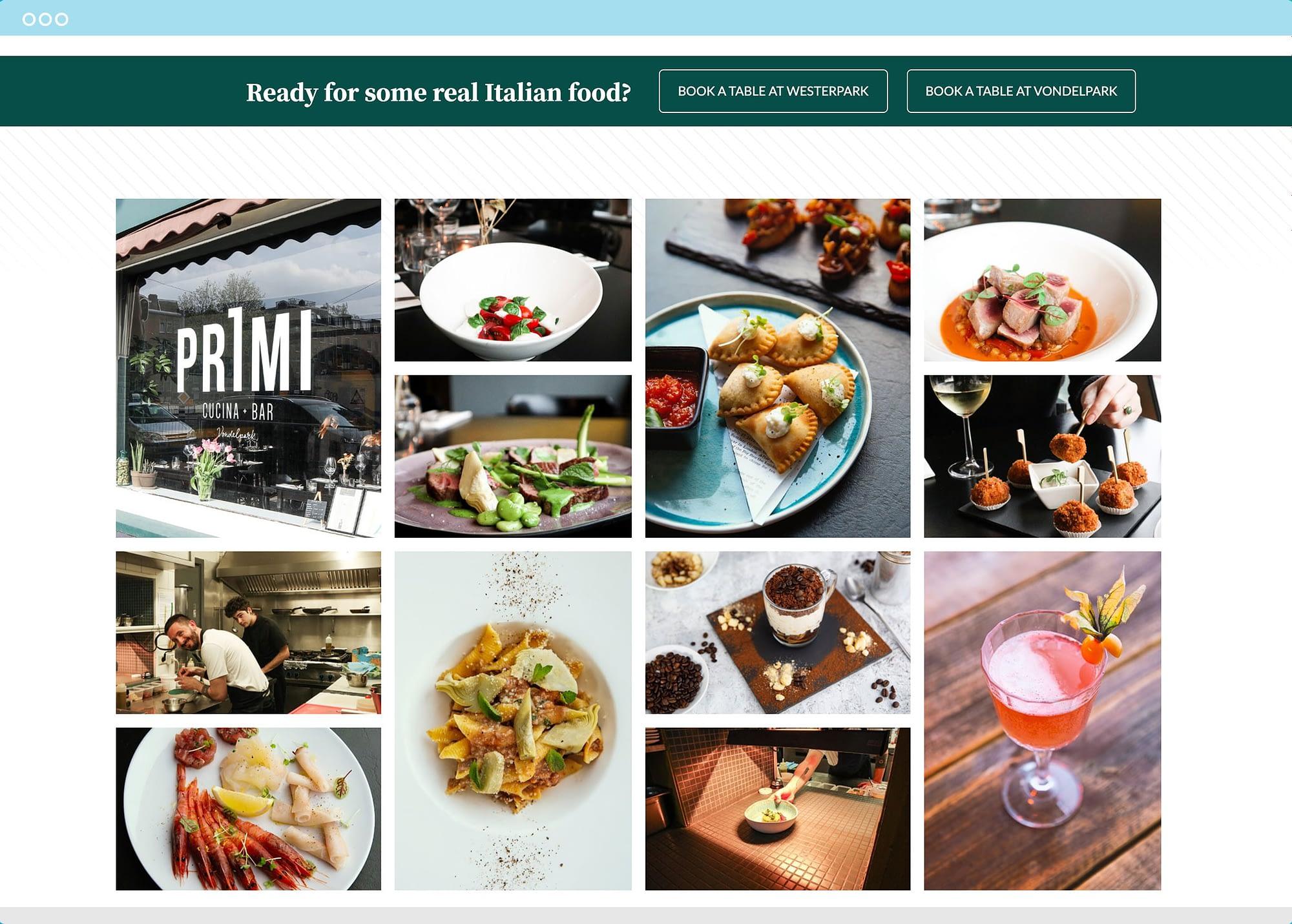Primi Amsterdam Website image gallery block