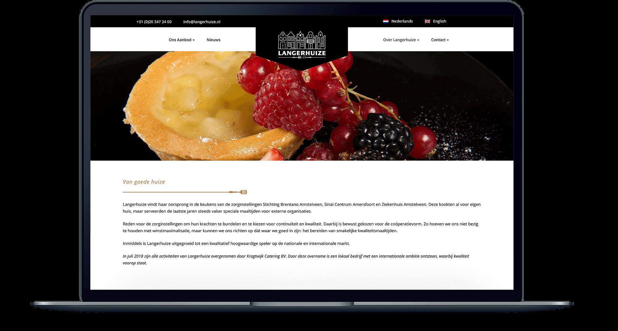Mockup van een MacBook met de website van Langerhuize er op open