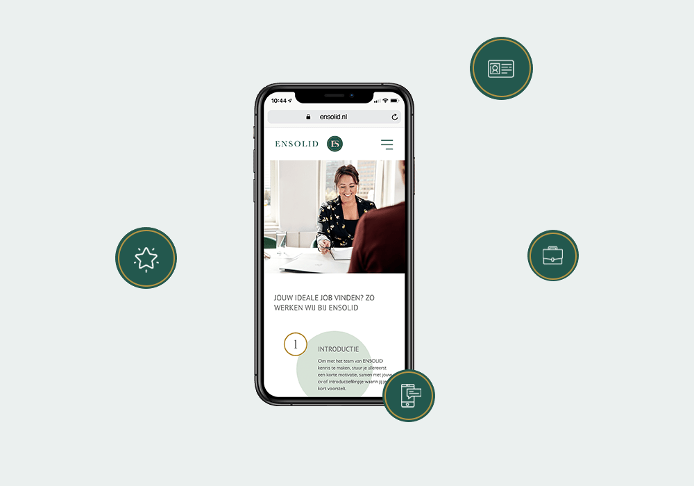 iPhone met de Ensolid website