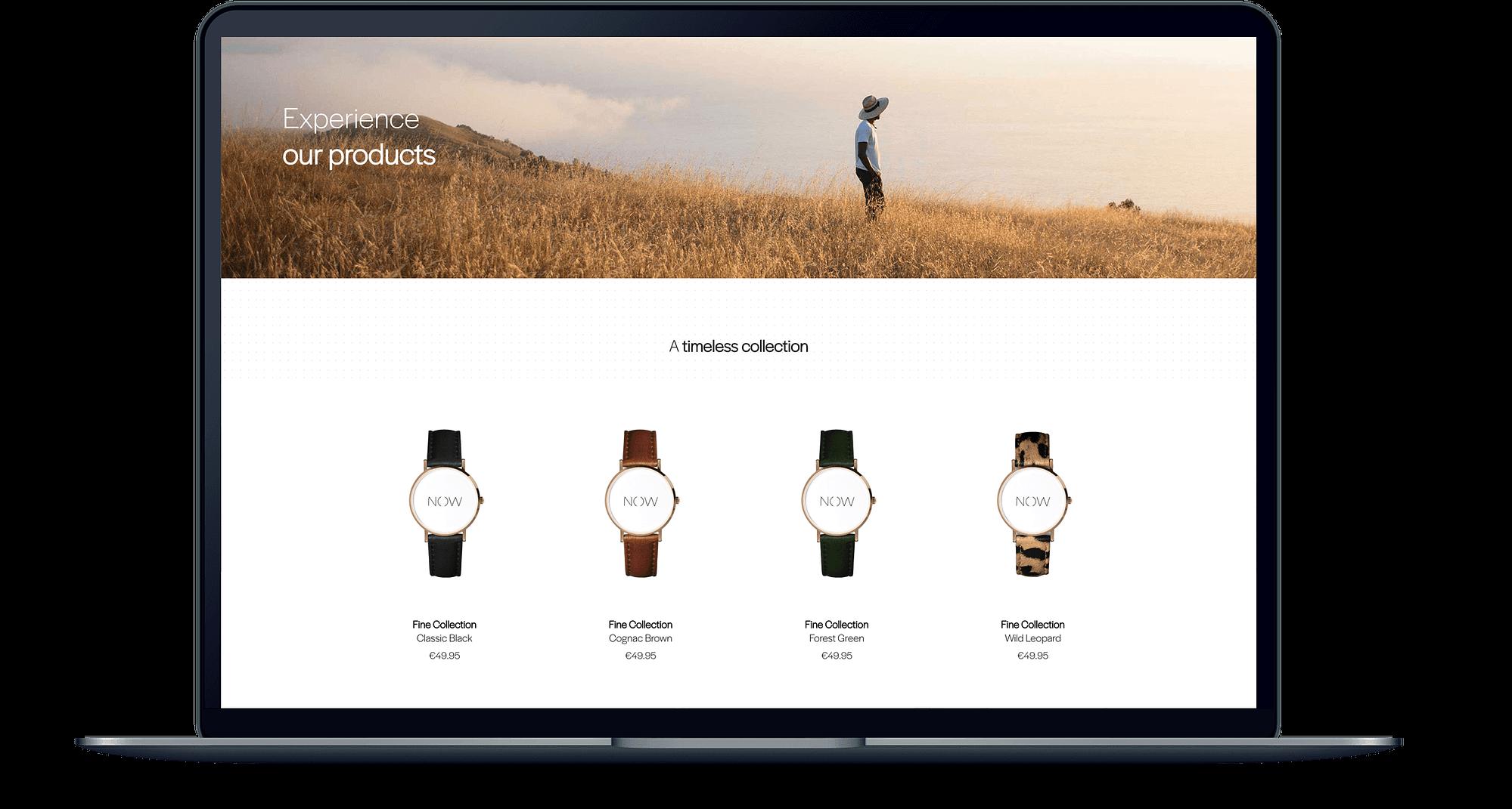 Mockup van een MacBook met de website van The Watch Now er op open