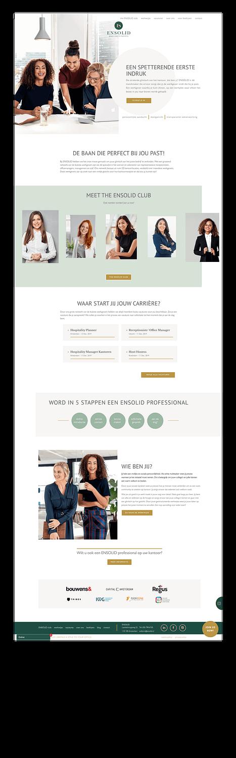 Homepage van de Ensolid website