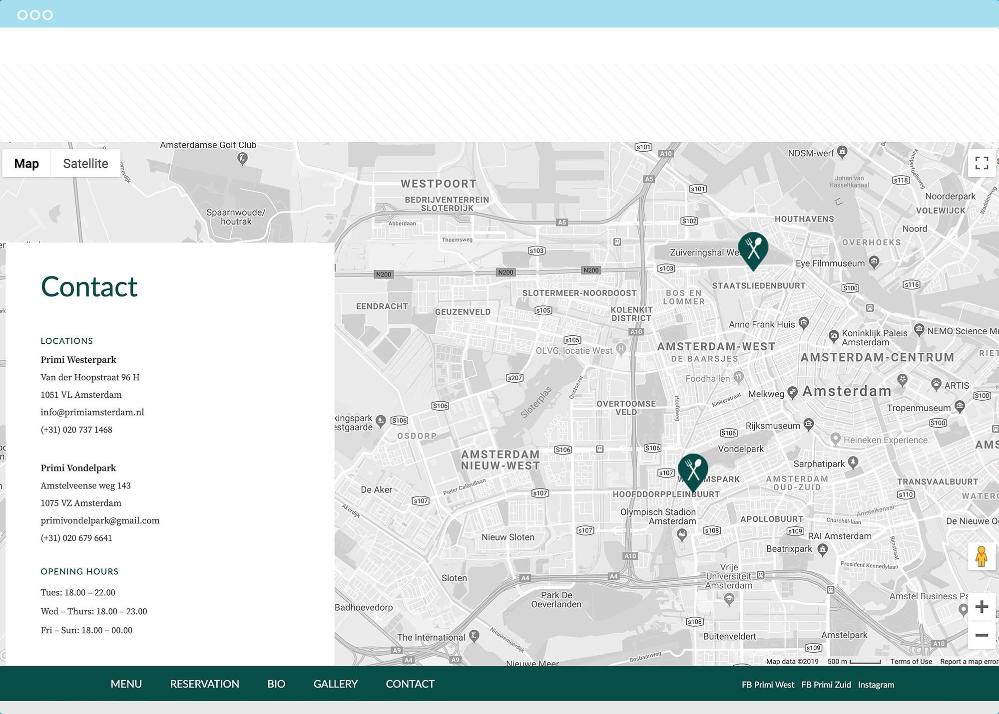 Primi Amsterdam Website contact block