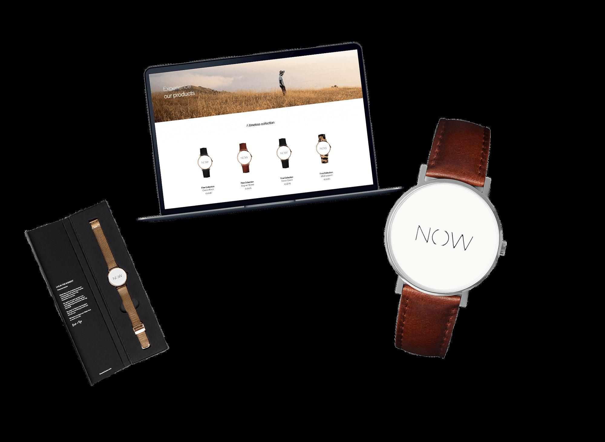 The Watch Now horloge naast een laptop met de website