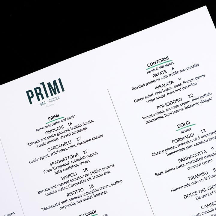 Menukaart van Primi Amsterdam